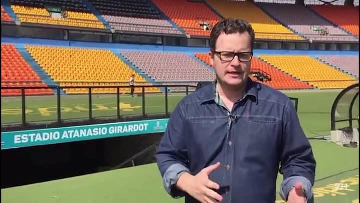 Os preparativos para a homenagem no estádio Atanásio Girardot