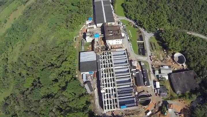 Confira imagens aéreas do sistema flocodecantador na Estação de Tratamento de Água em Palhoça