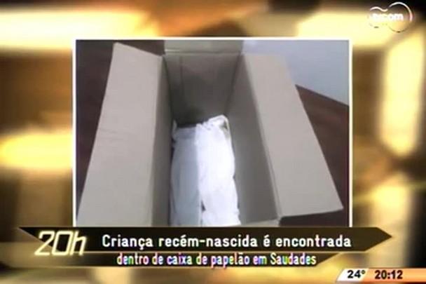 TVCOM 20 Horas - Bebê recém-nascida é encontrada dentro de caixa de papelão em Saudades - 13.04.15