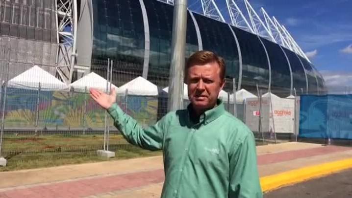 Arena Castelão será o destino do Brasil na segunda partida da Copa. 12/06/2014