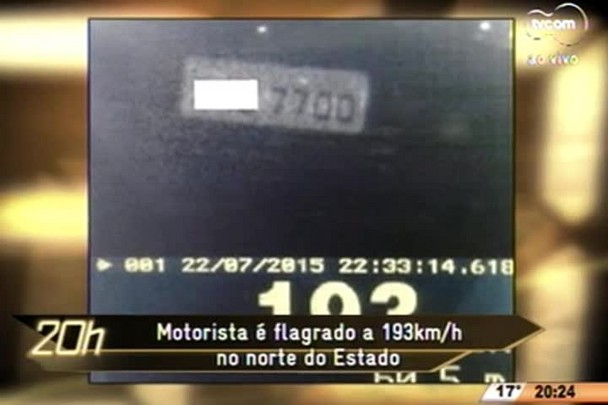TVCOM 20 Horas - Motorista é flagrado a 193km/h no norte do Estado - 23.07.15