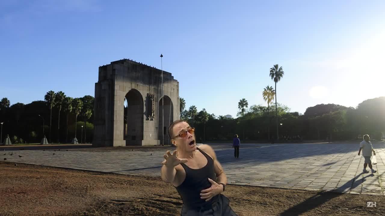 Van Damme passando mal com o calor de Porto Alegre