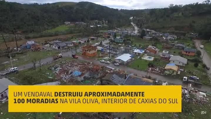 Imagens aéreas mostram destruição na Vila Oliva, em Caxias do Sul