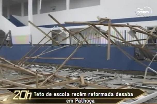 TVCOM 20h - Teto de escola pública recém reformada desabada em Palhoça - 5.1.15