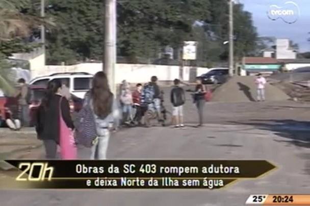 TVCOM 20 Horas - Obras da SC 403 rompem adutora e deixa Norte da Ilha sem água - 22.05.15
