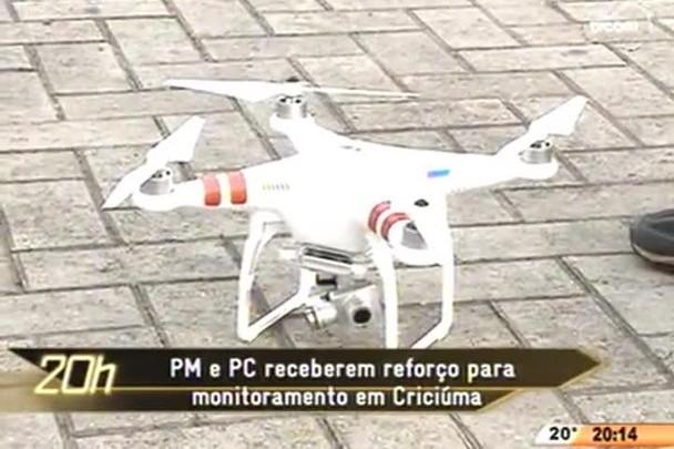 TVCOM 20 Horas - Polícia de Criciúma recebe drones de monitoramento aéreo para reforçar segurança na cidade - 05.05.15