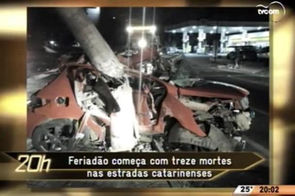 TVCOM 20 Horas - Feriadão começa com treze mortes nas estradas catarinenses/ Acidente com feridos interrompe BR 282 na Grande Florianópolis - 04.06.15