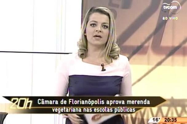 TVCOM 20 Horas - Câmera de Florianópolis aprova merenda vegetariana nas escolas públicas - 18.06.15