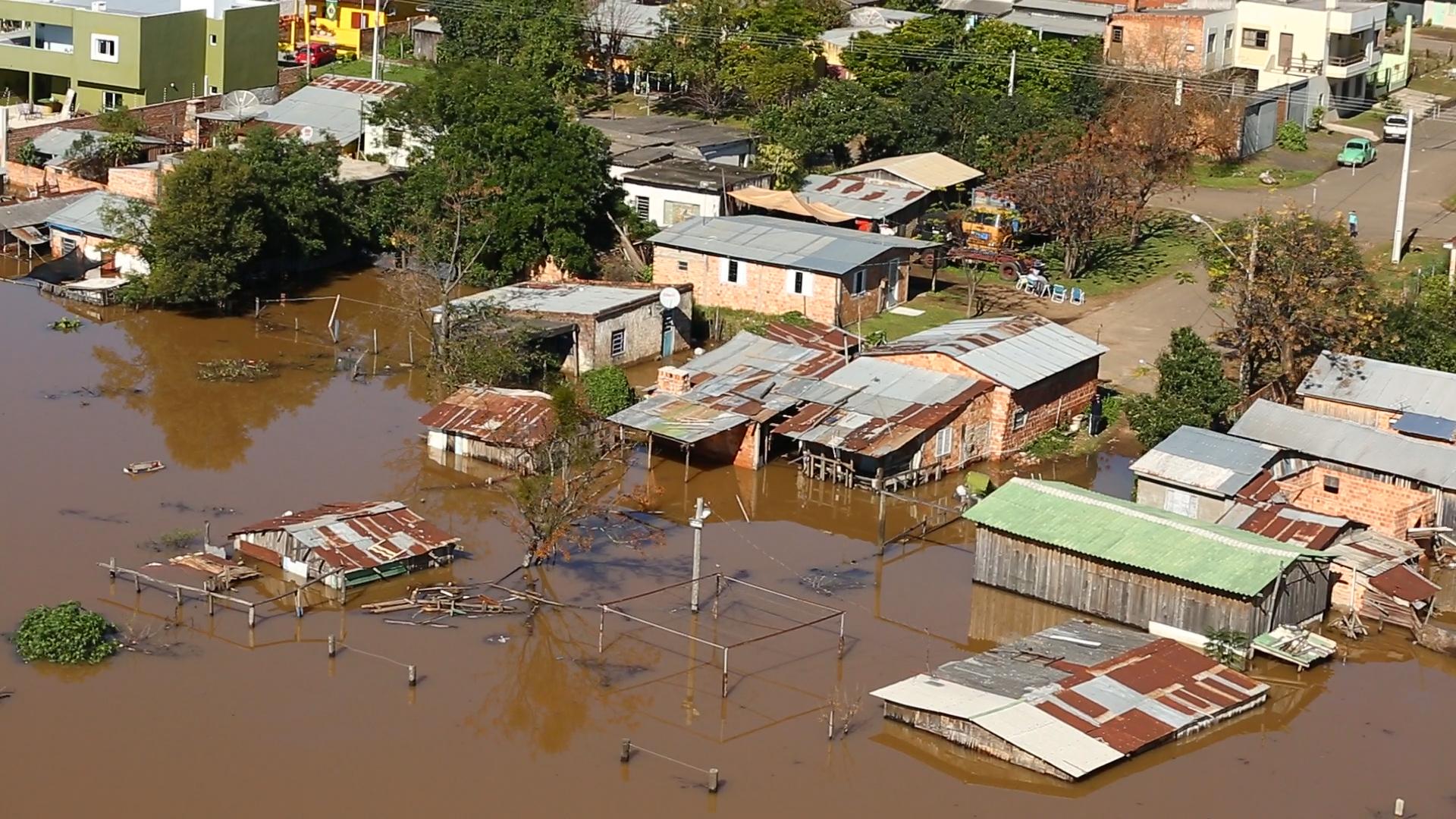 A enchente em Uruguaiana vista de cima