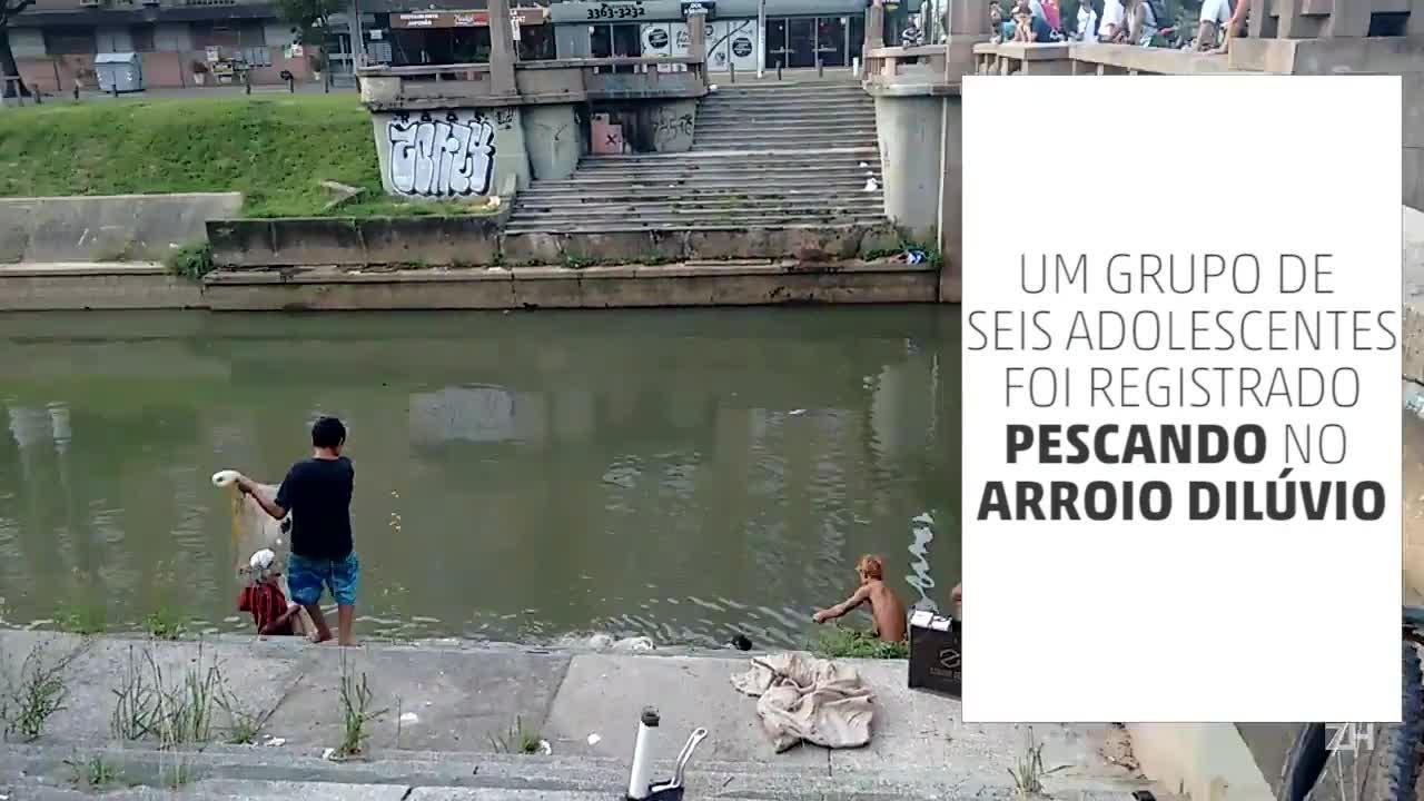 Grupo pesca no Arroio Dilúvio
