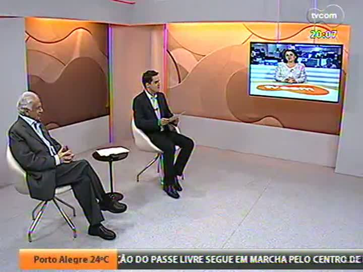 TVCOM 20 Horas - Pedro Simon fala sobre a carreira política e dá sua opinião quanto aos protestos - Bloco 2 - 01/08/2013