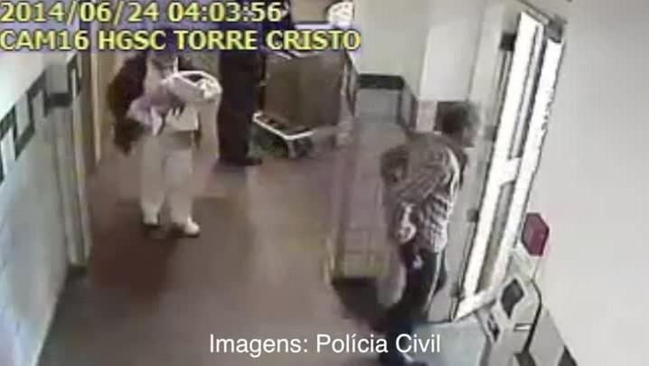 Câmeras mostram o momento em que bebê é sequestrado no Hospital Santa Clara. 25/06/2014