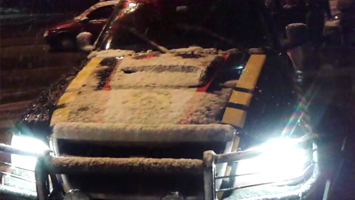 PRF grava momento em que a cidade de Rancho Queimado recebeu os primeiros flocos de neve