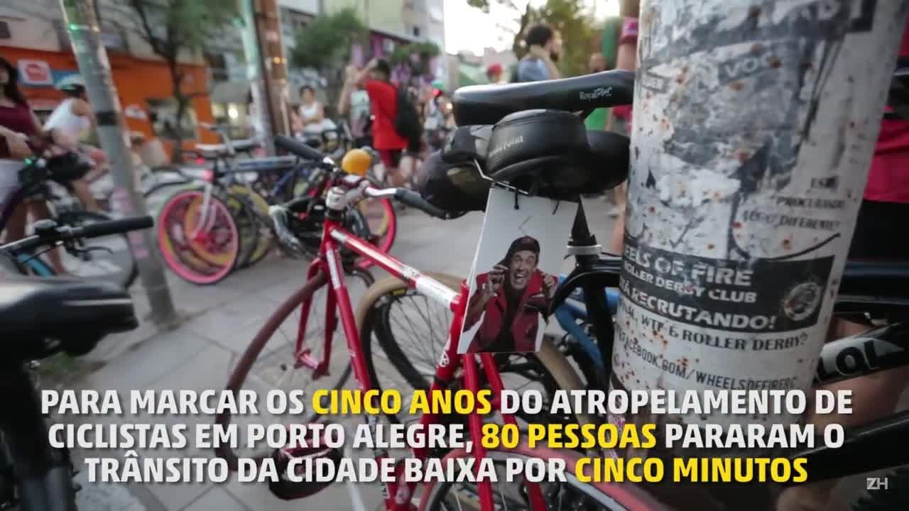 Ato relembra cinco anos do atropelamento de ciclistas em Porto Alegre