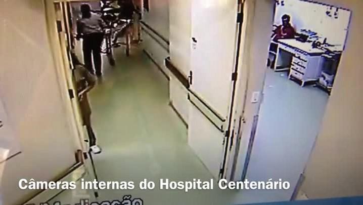Imagens mostram que o torcedor do NH foi deixado na emergência do Hospital Centenário por PM\'s