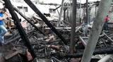 Empresa fica destruída após incêndio em Joinville