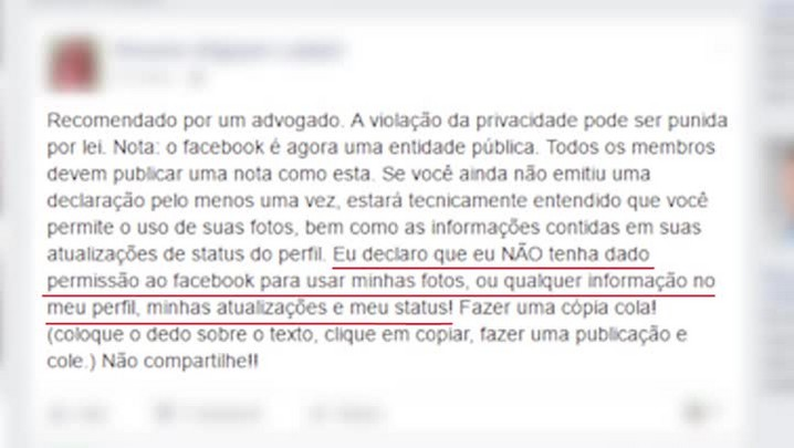 ZH Esclarece: mensagem de que Facebook irá divulgar conteúdos pessoais de cada perfil é falsa