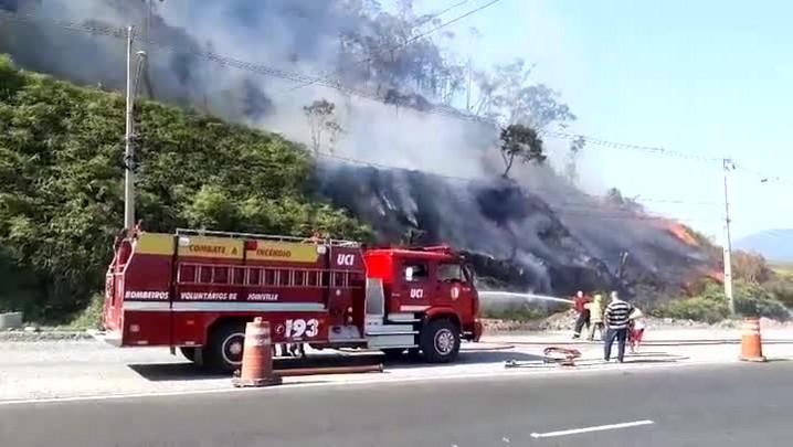 Área de mata pega fogo na avenida Santos Dumont, em Joinville