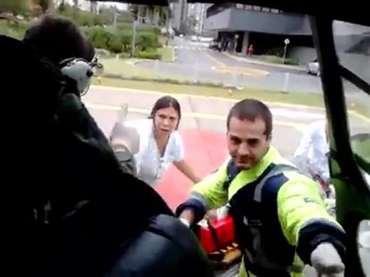 Chegada das vítimas ao hospital em Joinville
