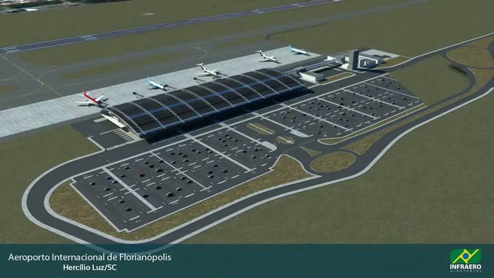Maquete eletrônica do novo aeroporto de Florianópolis
