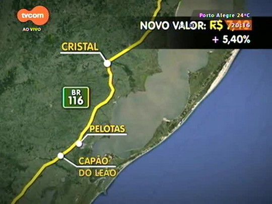 TVCOM 20 Horas - Aumentou em 5,4% o valor do pedágio em cinco pontos de rodovias federais no RS - 02/01/2015