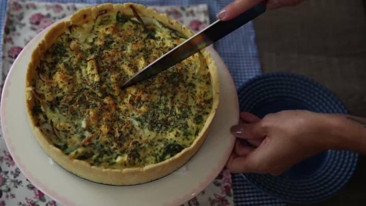 Quiche de farinha de arroz com espinafre e ricota