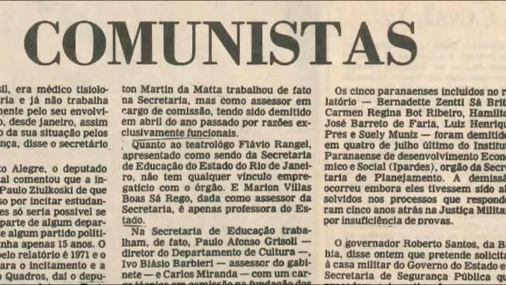 """Relato dos \""""comunistas\"""" gaúchos que estavam na lista do general Frota"""