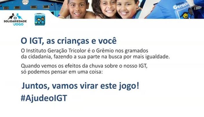 Grêmio lança campanha para a reconstrução do Instituto Geração Tricolor