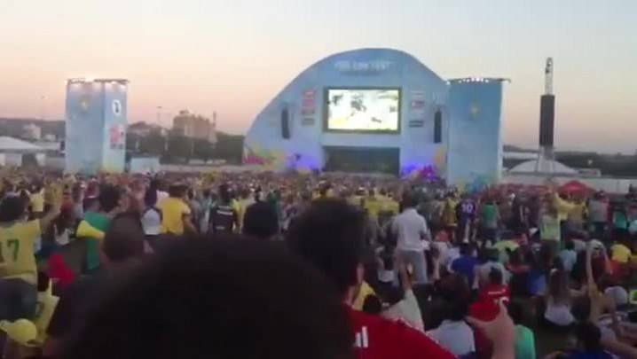 Torcida comemora gol do Brasil durante Fan Fest em Porto Alegre
