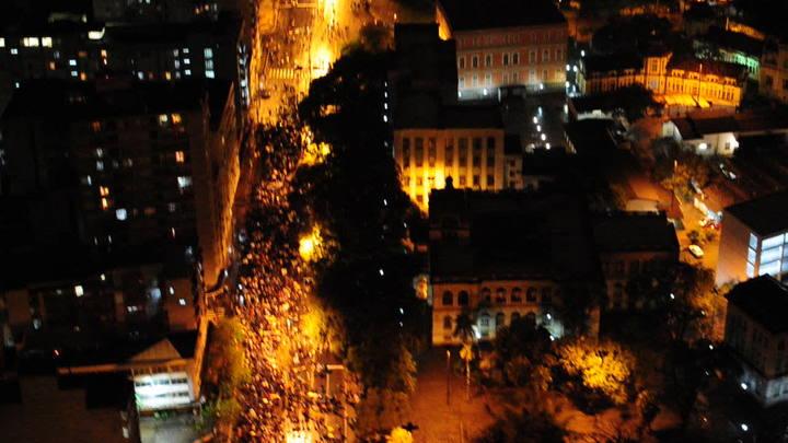 Protesto em POA: Imagem aérea do protesto