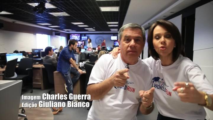 Apresetadores do Jornal do Almoço, Laine Valgas e Mario Motta, suam a camisa e convidam para Wings for Life World Run