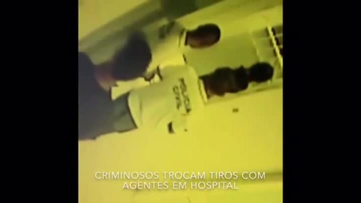 Vídeo mostra momento em que criminosos trocam tiros com agentes em hospital