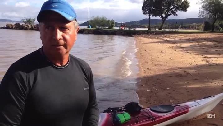 Coronel do exército completa percurso na Lagoa dos Patos