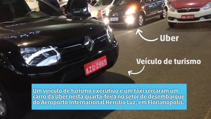 Carro da Uber é cercado no aeroporto Hercílio Luz, em Florianópolis
