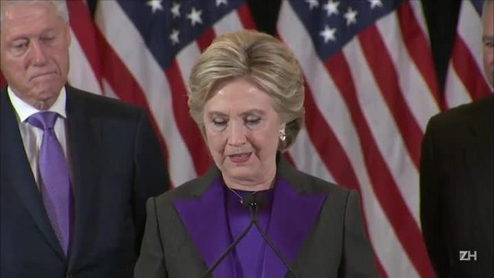 Hillary quer trabalhar com Trump e deseja sucesso ao rival