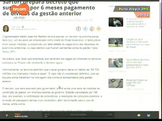 TVCOM 20 Horas - Contenção de gastos é uma das primeiras medidas de Sartori no governo - 31/12/2014