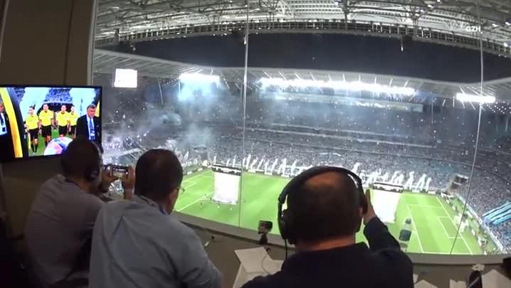 Bastidores da cabine da Gaúcha - Grêmio x Lanús