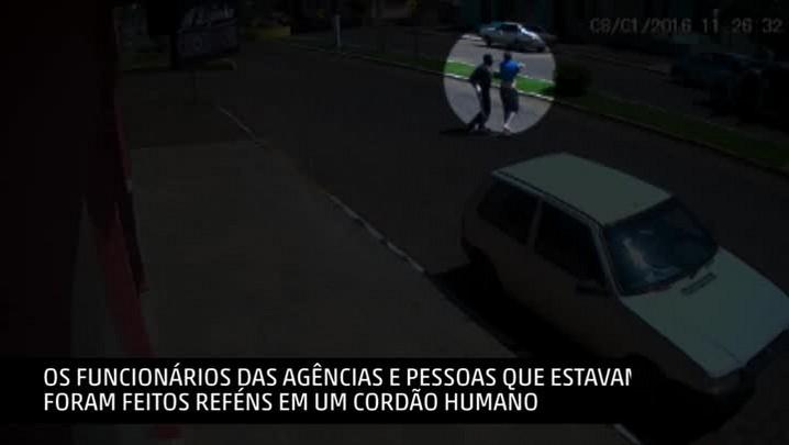 Imagens mostram ação dos assaltantes em Esmeralda