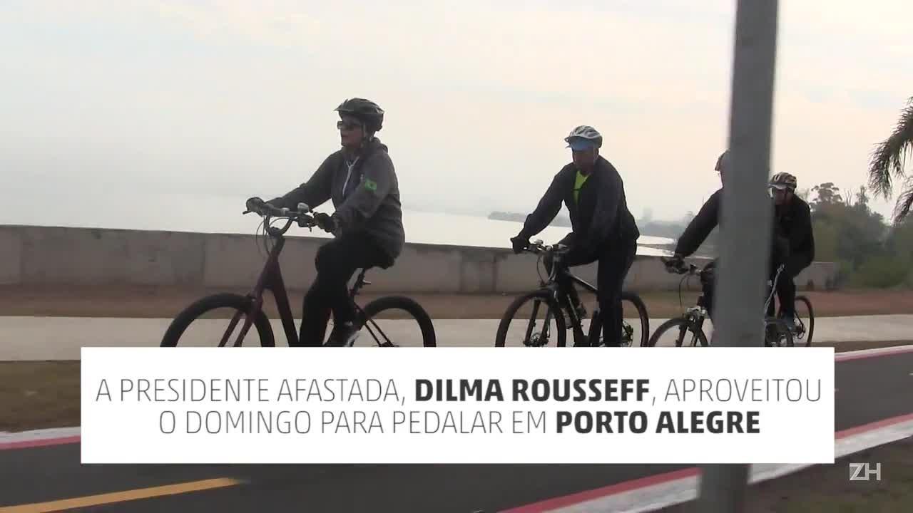 Dilma Rousseff pedala em Porto Alegre
