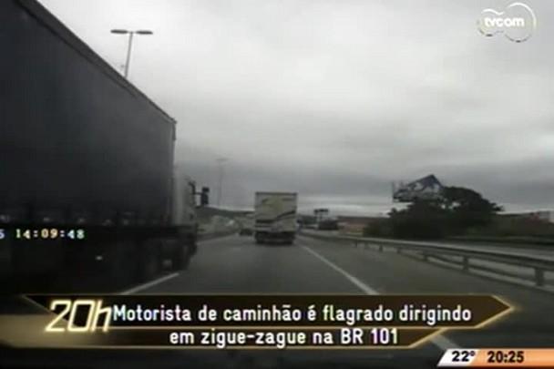 TVCOM 20 Horas - Motorista de caminhão é flagrado dirigindo em zigue-zague na BR 101 - 20.04.15