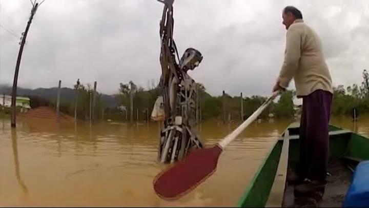 Imagens do Rio do Sul, a segunda cidade mais atingida pelas chuvas em SC