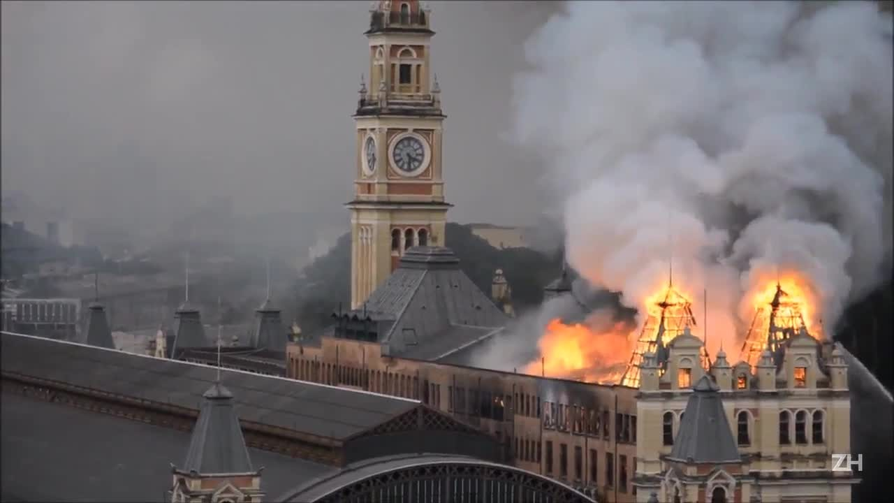 Incêndio atinge Museu da Língua Portuguesa em SP