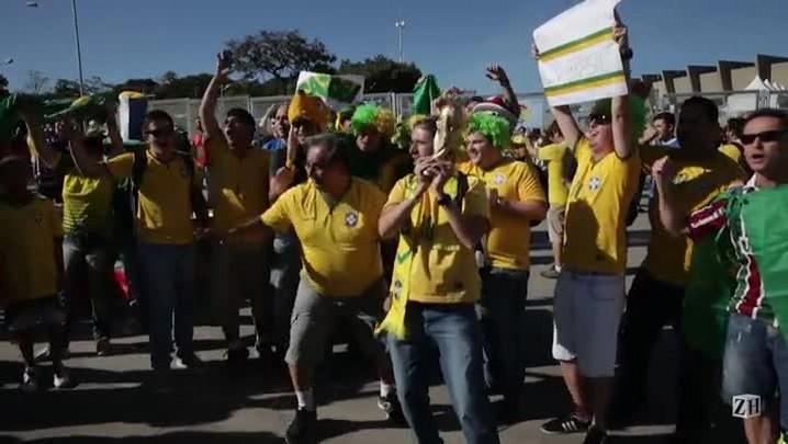 Torcida brasileira chega animada ao Mineirão