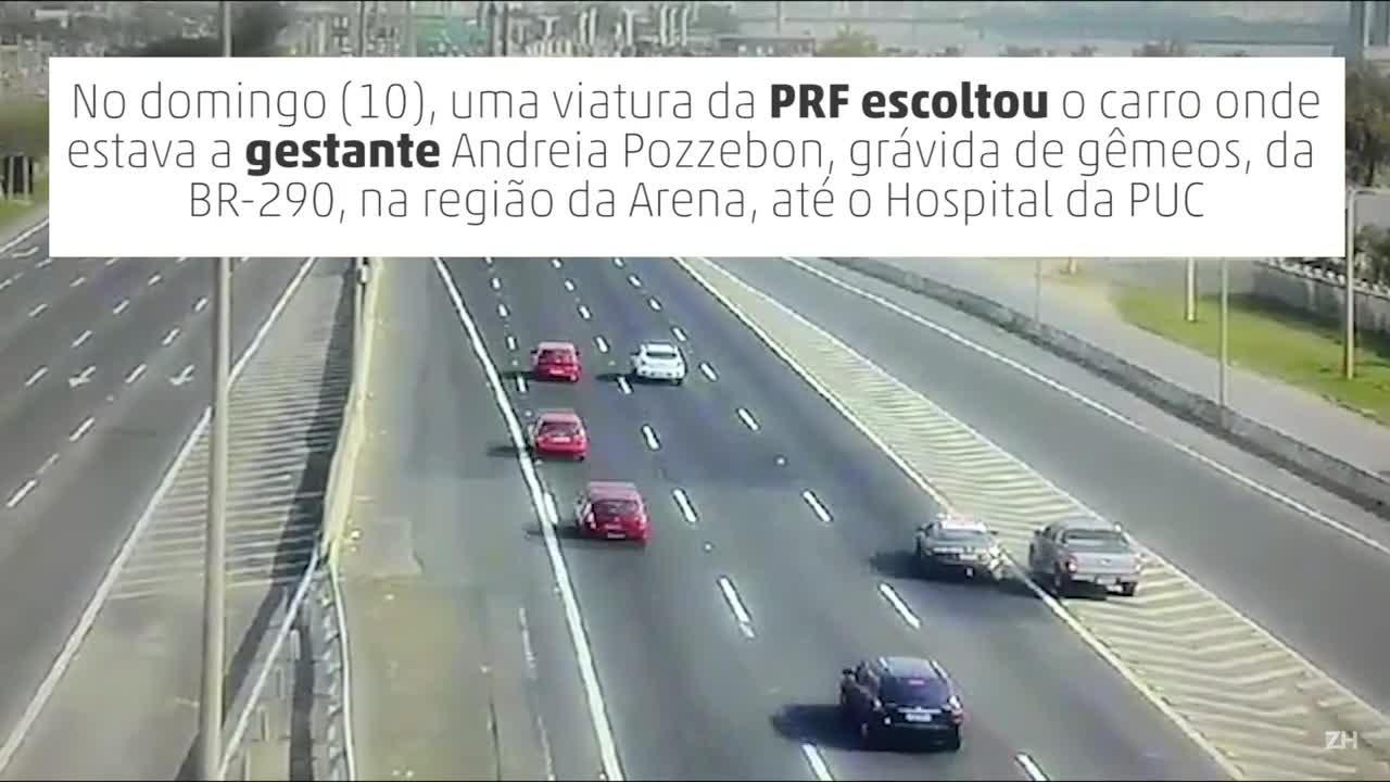PRF escolta carro com mulher grávida de gêmeos até hospital em Porto Alegre