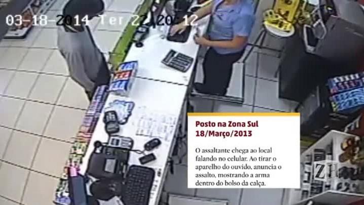 Veja imagens de assaltos com revólveres e pistolas em postos de combustíveis da Capital