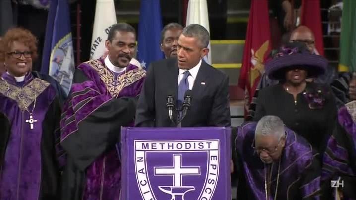Obama canta em homenagem às vítimas de Charleston