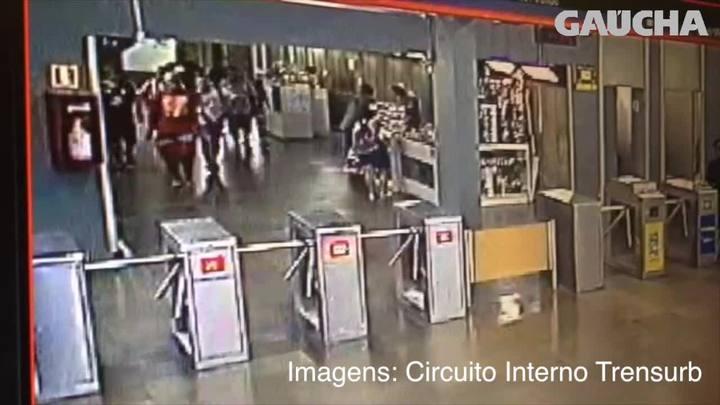V�deo mostra criminosos que fizeram arrast�o no Trensurb