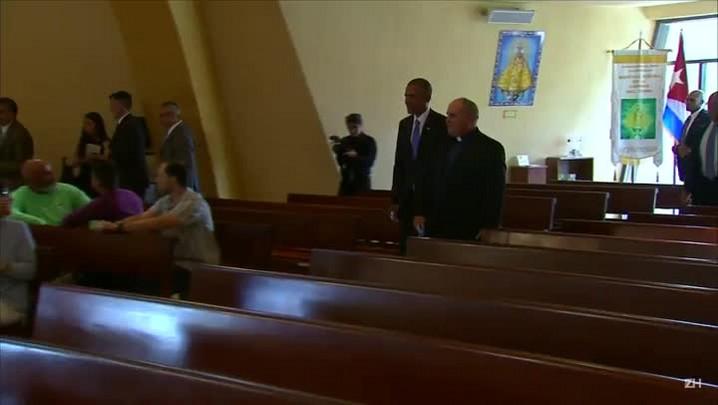 Obama faz visita surpresa à igreja da comunidade cubana