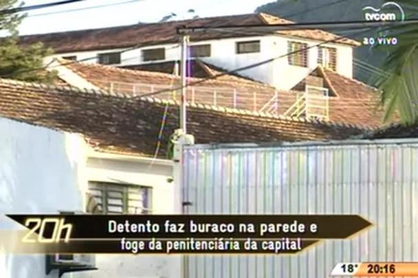 TVCOM 20 Horas - Detento faz buraco na parede e foge de penitenciária da capital - 16.07.15