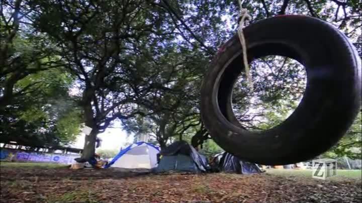 Manifestantes montam acampamento para impedir corte de árvores